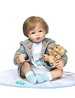 cheap -NPKCOLLECTION Reborn Doll Baby Girl 22 inch lifelike, Hand Applied Eyelashes, Tipped and Sealed Nails Kid's Girls' Gift / Artificial Implantation Brown Eyes / Natural Skin Tone / Floppy Head