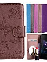 Недорогие -Кейс для Назначение OnePlus OnePlus 6 Кошелек / Бумажник для карт / со стендом Чехол Бабочка Твердый Кожа PU для OnePlus 6