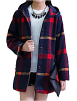 cheap -Kids Girls' Basic / Street chic Going out Owl Plaid Fur Trim / Print Long Sleeve Cotton Jacket & Coat