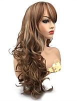 cheap -Synthetic Wig Curly Side Part Synthetic Hair Synthetic Light Brown Wig Women's Long Capless
