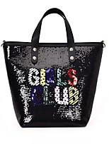 cheap -Women's Bags PU(Polyurethane) Tote Zipper Black / Blushing Pink / Silver