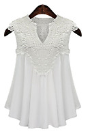 cheap -Women's Blouse - Solid Colored / Floral / Color Block Lace / Ruffle / Pleated
