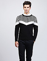 cheap -Men's Long Sleeve Slim Pullover - Solid Colored / Striped Round Neck