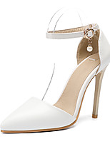 cheap -Women's Shoes PU(Polyurethane) Fall & Winter D'Orsay & Two-Piece Wedding Shoes Stiletto Heel Pointed Toe Rivet / Buckle White / Party & Evening