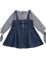 cheap -Toddler Girls' Active Solid Colored / Check Long Sleeve Above Knee Dress