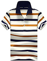 Недорогие -Муж. С принтом Polo Хлопок, Рубашечный воротник Классический Полоски / С короткими рукавами