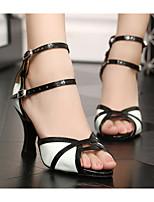 cheap -Women's Latin Shoes PU(Polyurethane) Heel Thick Heel Dance Shoes Black / White