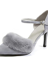 cheap -Women's Shoes Suede Summer Comfort Heels Stiletto Heel Gray / Red / Khaki / Party & Evening