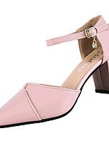 cheap -Women's Shoes PU(Polyurethane) Summer Ankle Strap Heels Chunky Heel Pointed Toe Black / Beige / Pink