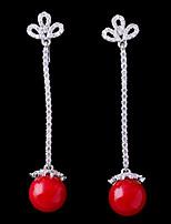 abordables -Mujer Zirconia Cúbica Elegante Pendientes con clip - Flor, Bola Moda Rojo Para Boda / Pedida