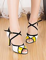 Недорогие -Жен. Обувь для латины Полиуретан На каблуках Толстая каблук Танцевальная обувь Желтый