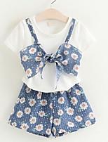 Недорогие -Дети (1-4 лет) Девочки Однотонный / Цветочный принт С короткими рукавами Набор одежды