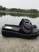 Недорогие -Жен. Обувь Синтетика Лето Удобная обувь Тапочки и Шлепанцы На низком каблуке Красный / Синий