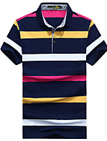 cheap -Men's Basic Polo - Striped / Color Block Print