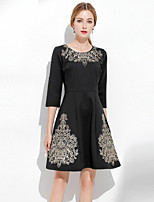 cheap -SHIHUATANG Women's Vintage / Sophisticated A Line Dress - Floral Embroidered