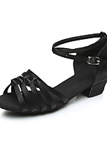 Недорогие -Девочки Обувь для латины Сатин На каблуках Толстая каблук Персонализируемая Танцевальная обувь Черный / Коричневый