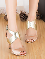 baratos -Mulheres Sapatos de Dança Latina Cetim Salto Salto Grosso Sapatos de Dança Rosa claro