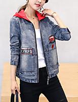 Недорогие -женский джинсовый пиджак - современный капюшон