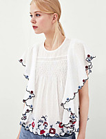 cheap -Women's Basic T-shirt - Floral Embroidered