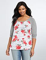 economico -T-shirt - Taglie forti Per donna Tinta unita / Fantasia geometrica Cotone