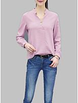 abordables -Tee-shirt Femme, Couleur Pleine / Rayé Mao