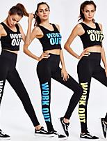 baratos -Mulheres Cortado Terno de Yoga - Branco, Verde, Azul Esportes Carta e Número Meia-calça / Malha Íntima Corrida, Fitness, Exercite-se Sem Manga Roupas Esportivas Respirável, Estiramento de 4 vias
