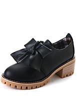 Недорогие -Жен. Обувь Полиуретан Лето Удобная обувь Обувь на каблуках На толстом каблуке Круглый носок Бант Черный / Миндальный