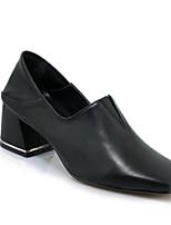 cheap -Women's Shoes Nappa Leather Spring / Fall Comfort / Basic Pump Heels Chunky Heel White / Black / Dark Brown