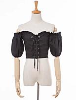 abordables -Tee-shirt Femme, Couleur Pleine Sortie Epaules Dénudées
