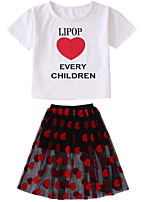 cheap -Toddler Girls' Solid Colored Short Sleeve Clothing Set