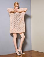 Недорогие -Жен. Классический Трикотаж Платье - Однотонный, С отверстиями Выше колена