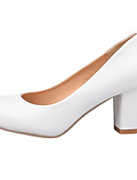 preiswerte -Damen Schuhe PU Herbst Komfort High Heels Blockabsatz Weiß / Schwarz / Rosa