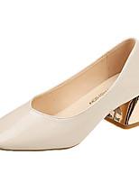Недорогие -Жен. Обувь Полиуретан Лето Туфли лодочки Обувь на каблуках На низком каблуке Квадратный носок Бежевый / Миндальный
