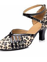 preiswerte -Damen Schuhe für modern Dance Leder Absätze Starke Ferse Tanzschuhe Leopard