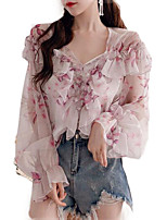 cheap -women's going out blouse - floral v neck