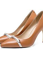 cheap -Women's Shoes Nappa Leather Summer Comfort Heels Stiletto Heel Gray / Brown