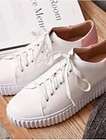 abordables -Mujer Zapatos Cuero de Napa Verano Confort Zapatillas de deporte Tacón Plano Punta cerrada Blanco / Negro