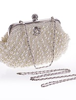 cheap -Women's Bags Polyester / Alloy Evening Bag Buttons / Pearls Beige