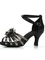 cheap -Women's Latin Shoes PU(Polyurethane) Heel Flower Cuban Heel Customizable Dance Shoes Gold / Black / Silver