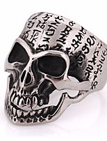 cheap -Men's Vintage Style / Stylish Statement Ring - Titanium Steel Skull Statement, Vintage, European 7 / 8 / 9 Silver For Carnival / Street