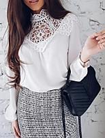 baratos -Mulheres Blusa Básico Vazado / Patchwork, Sólido