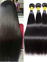 Недорогие -3 Связки Индийские волосы Прямой Необработанные / Натуральные волосы Подарки / Человека ткет Волосы / Сувениры для чаепития 8-28 дюймовый Ткет человеческих волос / Мода