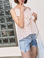cheap -women's cotton blouse - polka dot strap