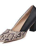Недорогие -Жен. Обувь Полиуретан Лето Туфли лодочки Обувь на каблуках На толстом каблуке Заостренный носок Черный / Для вечеринки / ужина