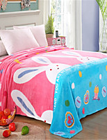 cheap -Coral fleece, Pigment Print Cartoon Cotton / Polyester Blankets