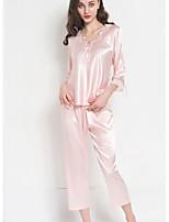 abordables -Asymétrique Bustiers Correspondants Pyjamas Femme Couleur Pleine