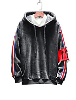 cheap -Men's Plus Size Long Sleeve Hoodie - Letter / Portrait Hooded