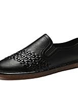 abordables -Hombre Cuero Otoño Confort Zapatos de taco bajo y Slip-On Negro / Marrón / Caqui