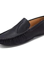 abordables -Hombre Mocasín PU Verano Zapatos de taco bajo y Slip-On Negro / Marrón / Caqui