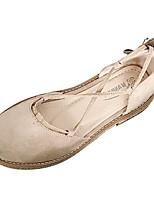 cheap -Women's Shoes PU(Polyurethane) Summer Ankle Strap Flats Flat Heel Round Toe Ribbon Tie Black / Almond